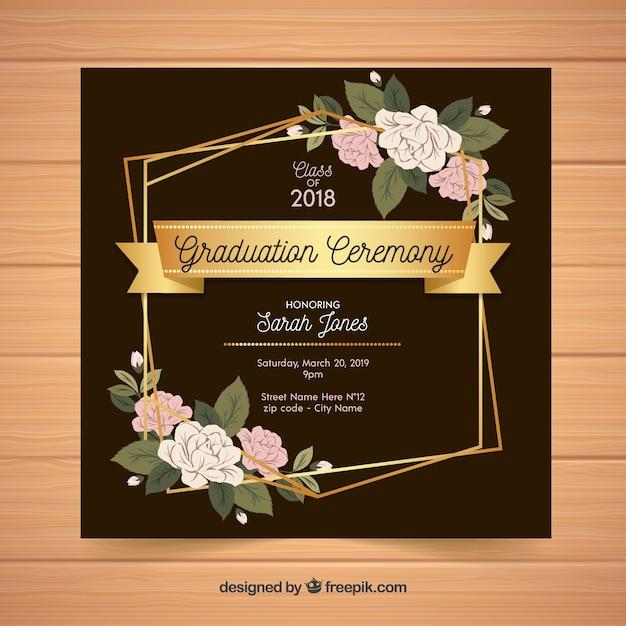 Design plat de modèle élégant invitation graduation Vecteur gratuit