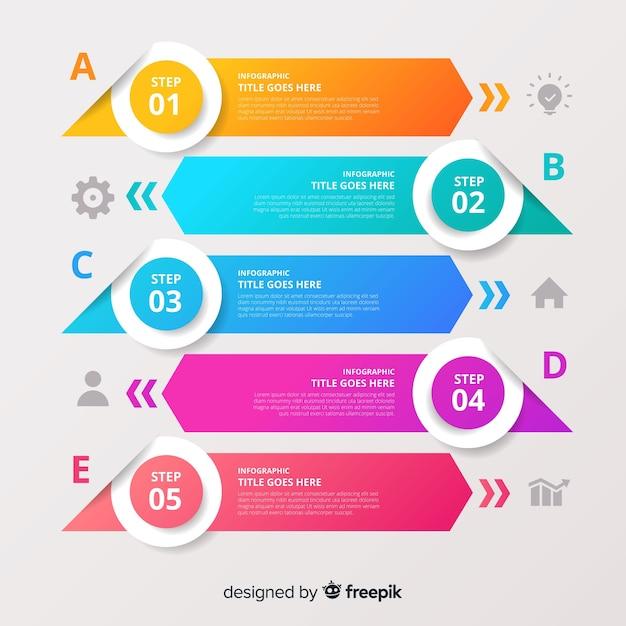 Design plat de modèle étapes colorées infographie Vecteur gratuit