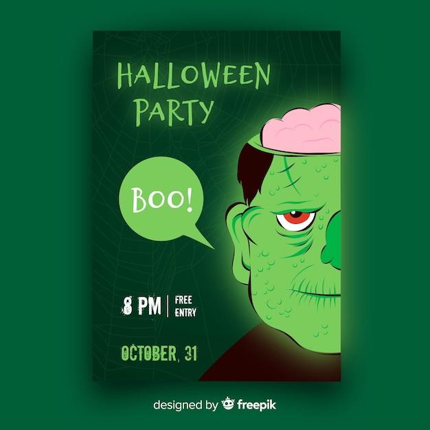Design plat de modèle de flyer party halloween Vecteur gratuit