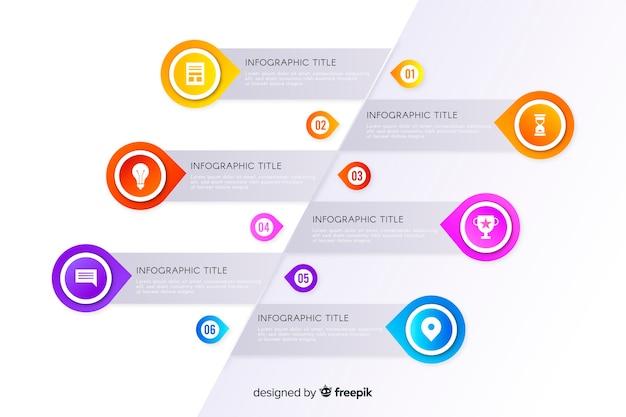 Design plat de modèle infographie timeline Vecteur gratuit