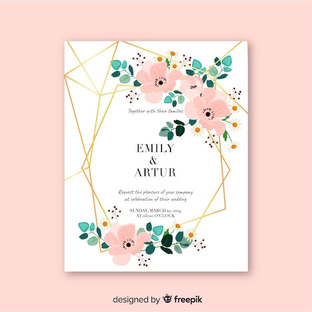 Design plat modèle invitation de mariage Vecteur gratuit