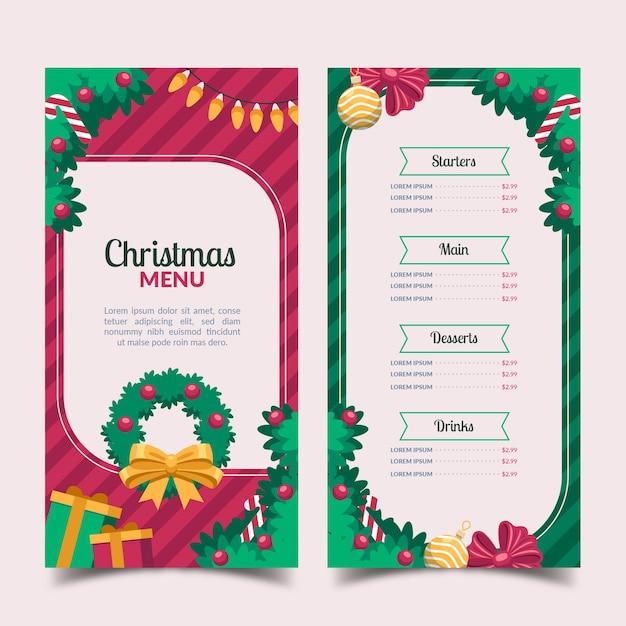 Design plat de modèle de menu de noël Vecteur gratuit