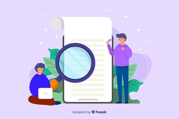Design plat de modèle de page de destination concept recherche Vecteur gratuit