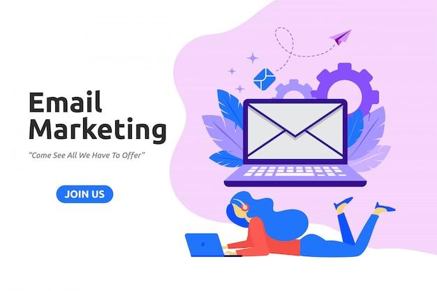 Design plat moderne pour le marketing par courriel Vecteur Premium