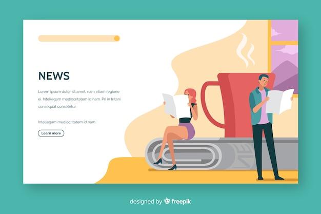 Design plat de nouvelles pages de concept Vecteur gratuit