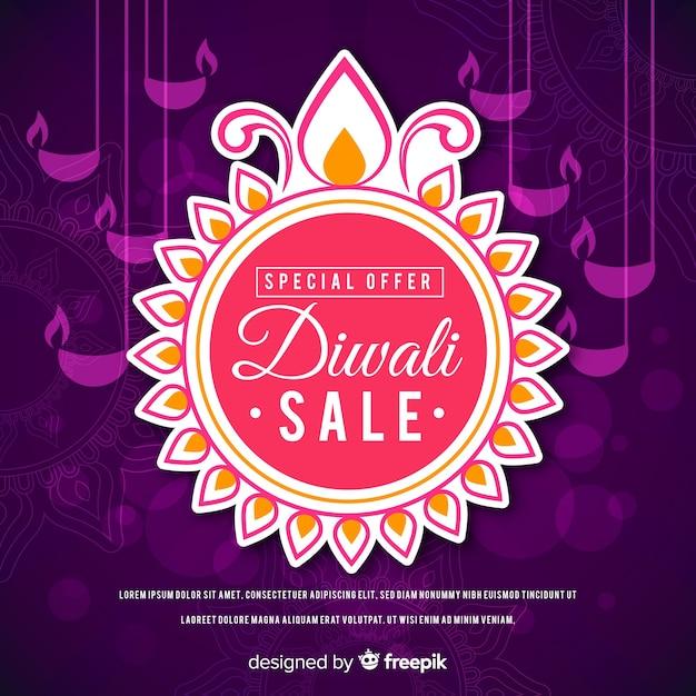 Design plat de l'offre spéciale de vente de diwali Vecteur gratuit