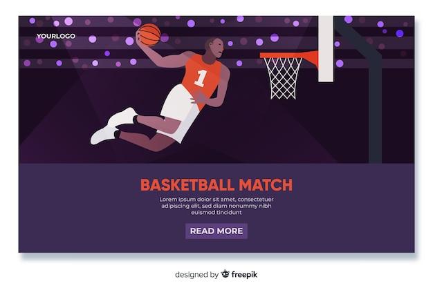 Design plat de page d'atterrissage de basket-ball Vecteur gratuit