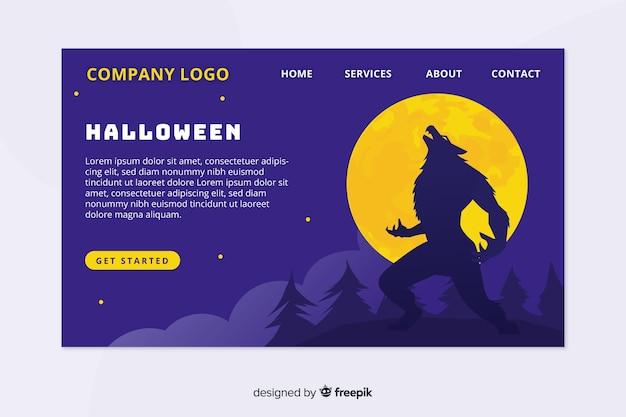 Design plat de la page d'atterrissage d'halloween Vecteur gratuit