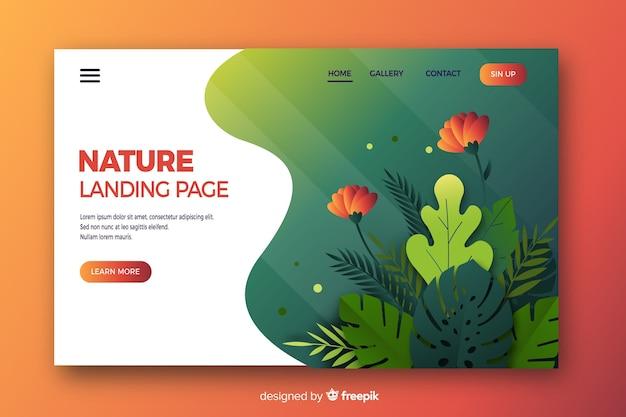 Design plat de page d'atterrissage nature Vecteur gratuit