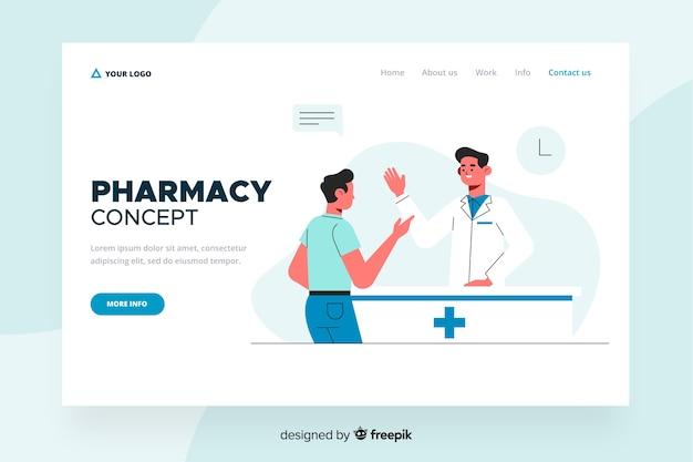 Design plat de page d'atterrissage de pharmacie Vecteur gratuit