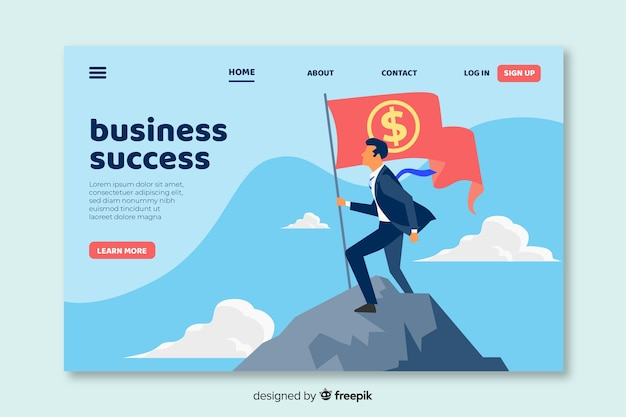 Design Plat De Page De Destination D'affaires Vecteur gratuit