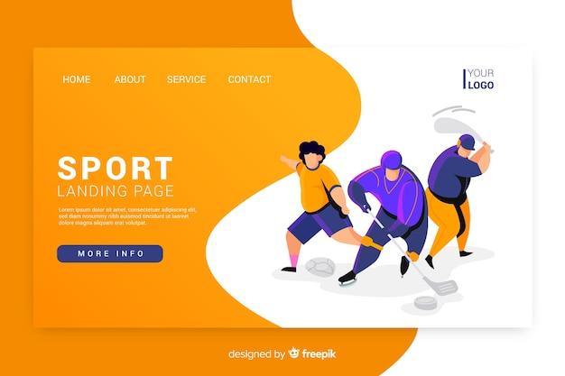 Design plat de la page de destination sportive Vecteur gratuit