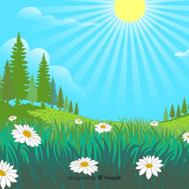 Design plat de paysage naturel Vecteur gratuit