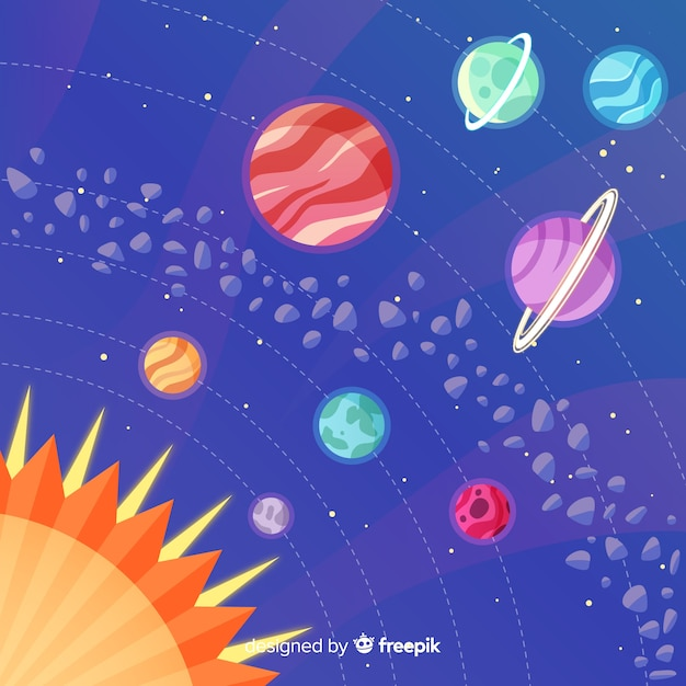 Design plat de planètes dans le système solaire Vecteur gratuit
