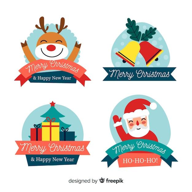 Design Plat Pour étiquettes Et Badges De Noël Vecteur gratuit