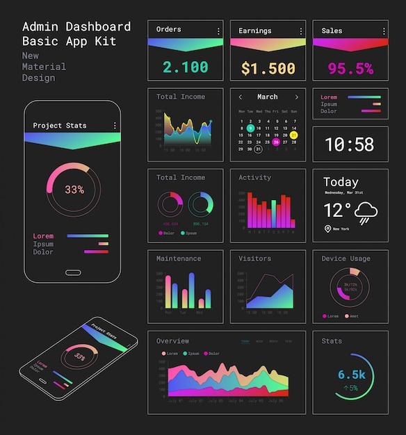 Design Plat Réactif Admin Dashboard Ui Application Mobile Vecteur Premium