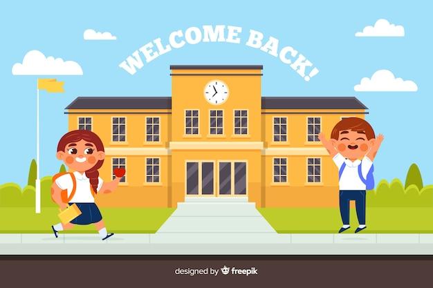 Design plat retour au fond de l'école Vecteur gratuit