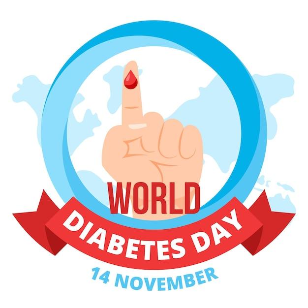 Design Plat De Sensibilisation à La Journée Mondiale Du Diabète Vecteur gratuit