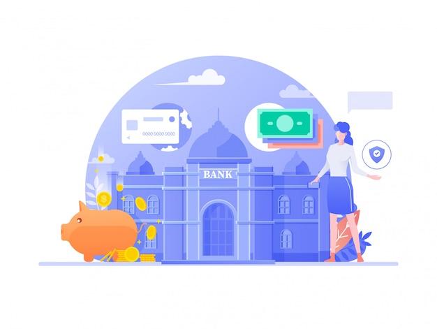 Design Plat De Services Bancaires Mobiles En Ligne. Gestion Financière Des Entreprises, Concept De Fintech De Service De Banque Numérique. Caractère Féminin Faisant Fond Bancaire Internet. Illustration. Vecteur Premium