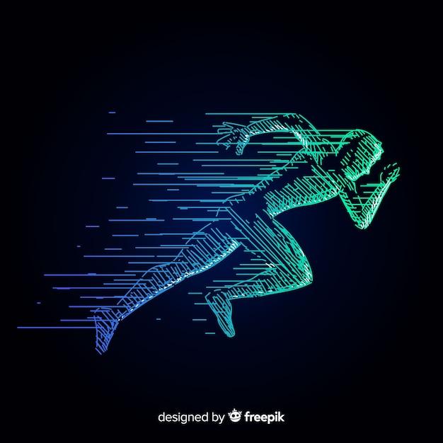 Design plat de silhouette abstraite coureur Vecteur gratuit