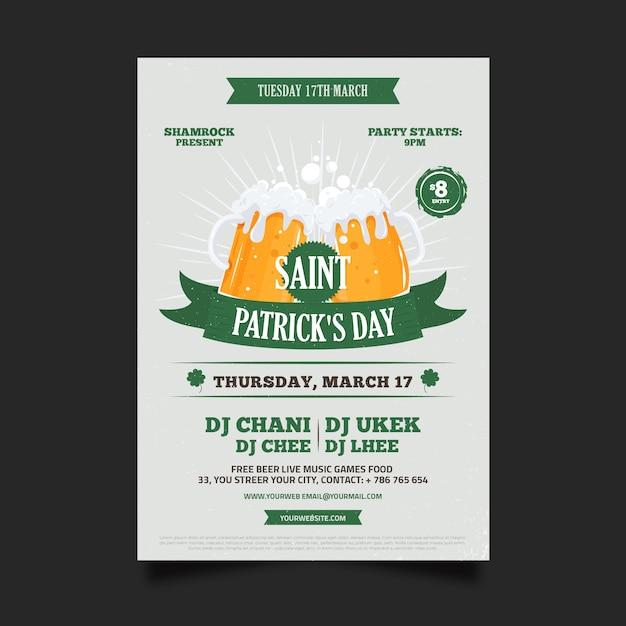 Design Plat St. Modèle De Flyer De Patricks Day Vecteur gratuit