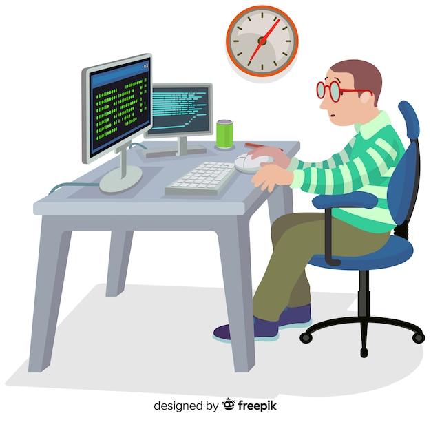 Design plat vecteur codeur mâle travaillant Vecteur gratuit