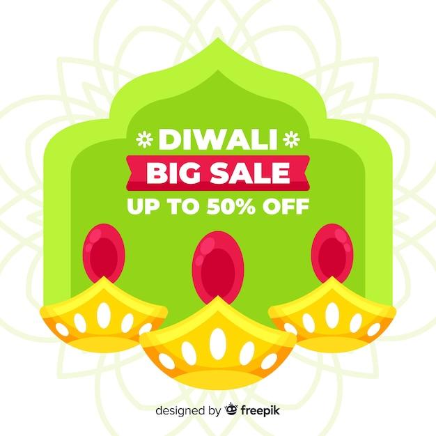 Design plat de vente colorée de diwali Vecteur gratuit