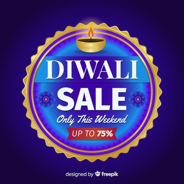 Design plat de vente de diwali Vecteur gratuit