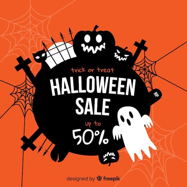 Design plat de vente halloween effrayant Vecteur gratuit