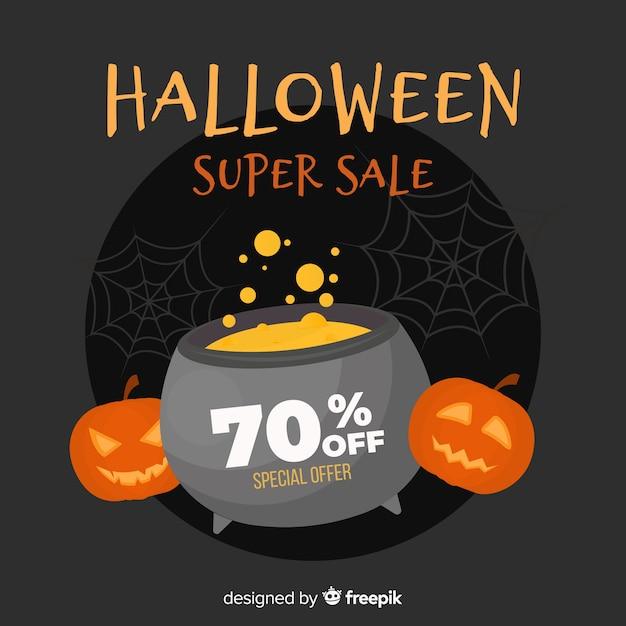 Design plat de vente d'halloween Vecteur gratuit