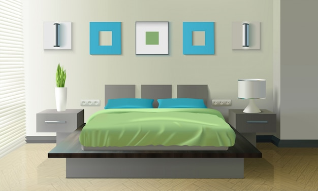 Design réaliste de chambre à coucher moderne Vecteur gratuit