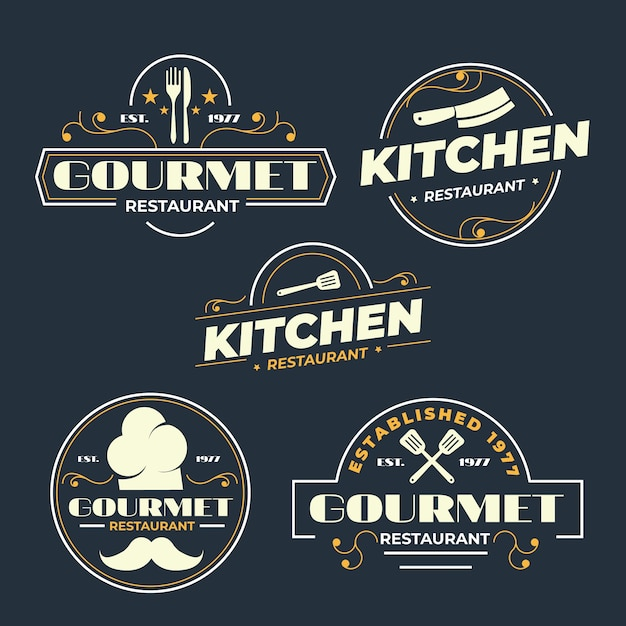 Design Rétro Pour Le Logo Du Restaurant Vecteur Premium