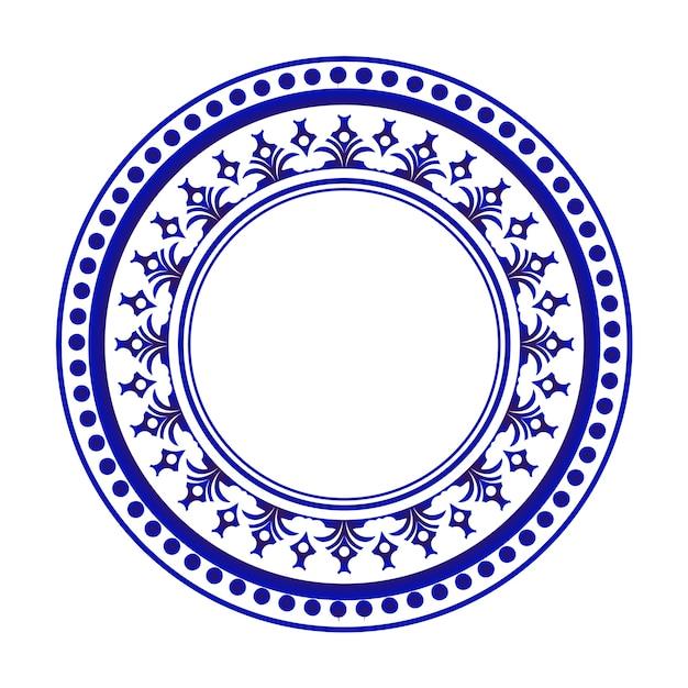 Design rond bleu et blanc Vecteur Premium