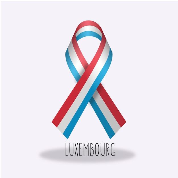 Design de ruban de drapeau luxembourgeois Vecteur gratuit