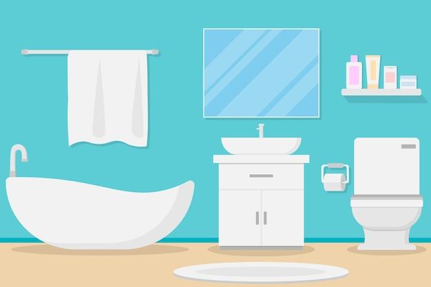Design de salle de bain moderne intérieur Vecteur Premium
