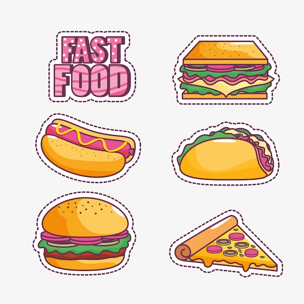 Design savoureux et fast food Vecteur Premium