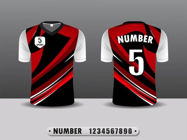 Design Sport Sport Club De Football Noir Et Rouge. Vecteur Premium