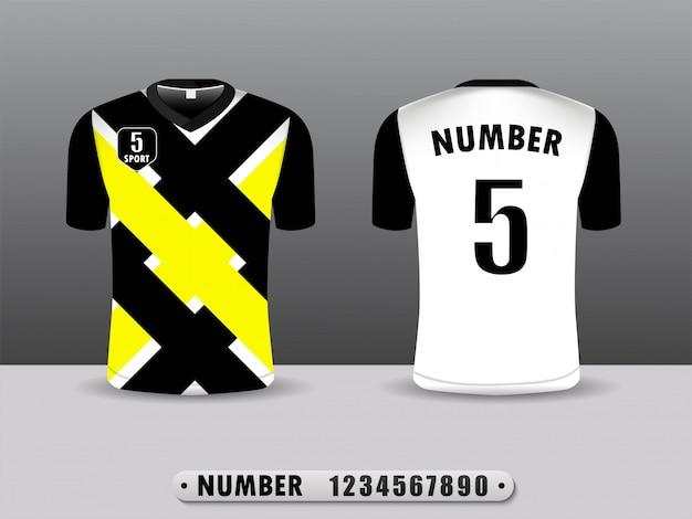 Design Sport T-shirt Noir Et Jaune. Vecteur Premium
