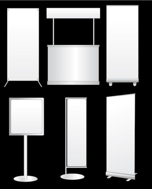Design de stand d'exposition créative vecteur blanc Vecteur Premium