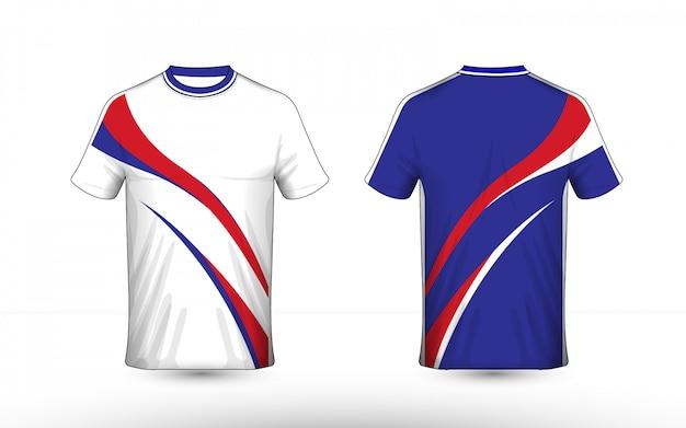 Design de t-shirt e-sport bleu, blanc et rouge Vecteur Premium