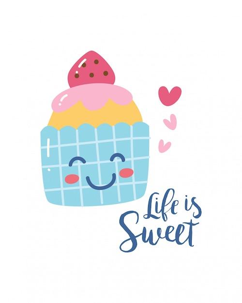 Design t-shirt mignon avec un gâteau et un slogan kawaii smile Vecteur Premium