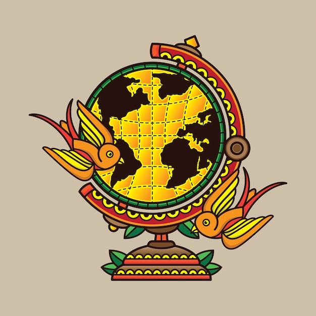 Design tatouage globe traditionnel Vecteur Premium