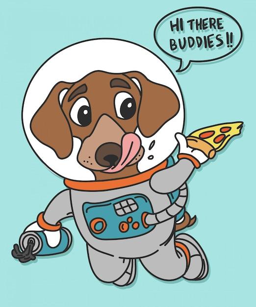 Design de vecteur de chien espace dessiné à la main pour l'impression de t-shirt Vecteur Premium