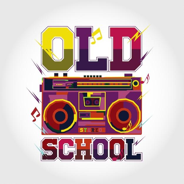 Design de vecteur de musique coloré old school Vecteur Premium