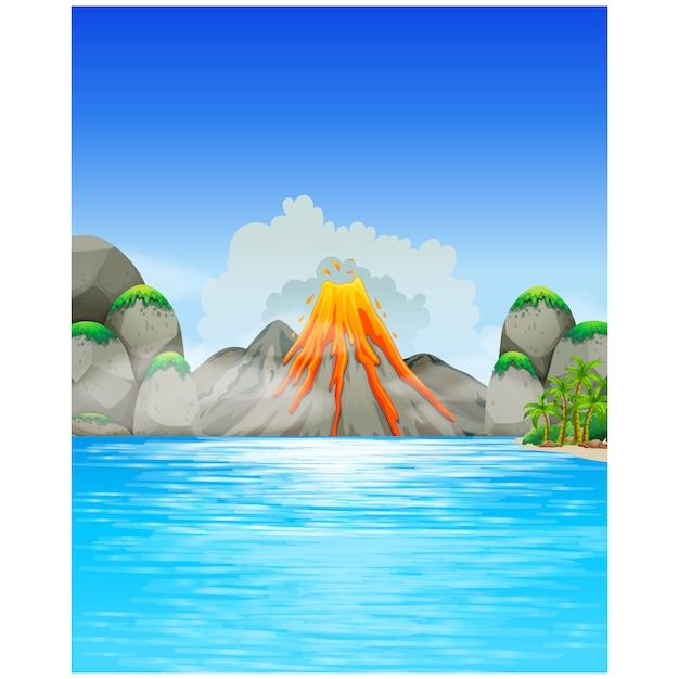 Design volcan de fond Vecteur gratuit