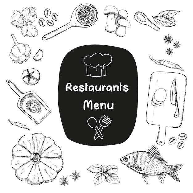 Designs alimentaires sketchy Vecteur gratuit