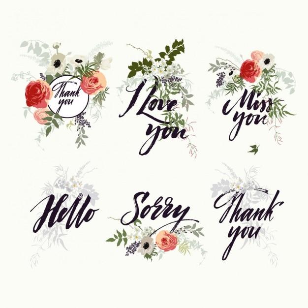 Designs letterinig floral Vecteur gratuit