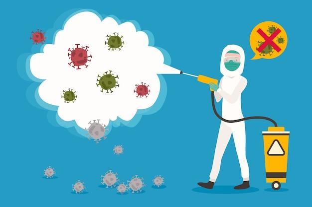 Désinfection Antivirus Au Design Plat Vecteur gratuit