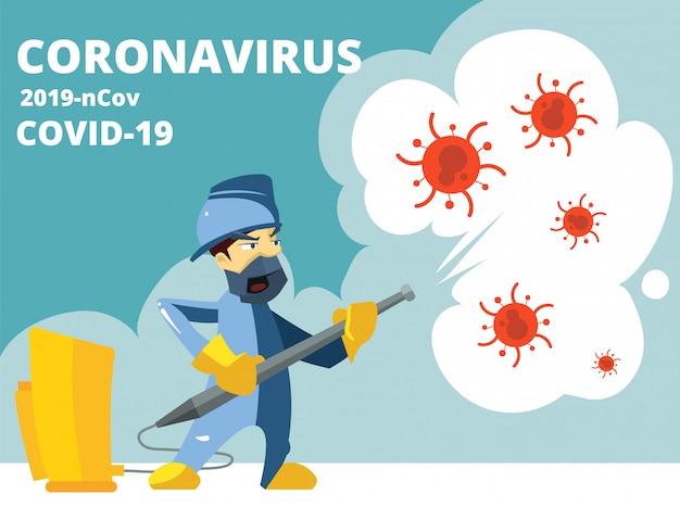 Désinfection. Coronavirus Covid 19, Protection Antivirus. Le Désinfectant En Spray Tue Les Microbes Et Les Bactéries. Illustration De Travail De Désinfecteur De Dessin Animé Vecteur Premium