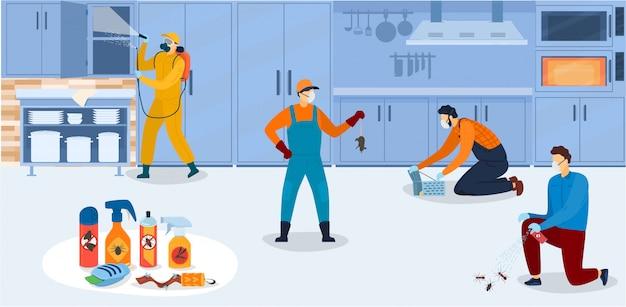 Désinfection Dans La Cuisine, Les Travailleurs Du Service De Lutte Antiparasitaire En Uniforme Pendant Le Traitement Sanitaire De La Cuisine Avec Des Pulvérisations D'insecticides Chimiques Illustration. Vecteur Premium